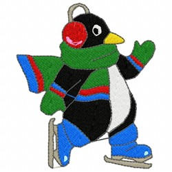 Penguin Ice Skating embroidery design