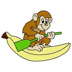 Monkey On Banana embroidery design