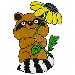 Floral Raccoon embroidery design