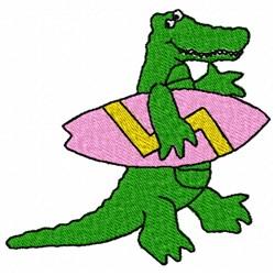 Surfing Gator embroidery design