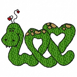 Heart Snake embroidery design