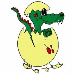 Crocodile In Egg embroidery design