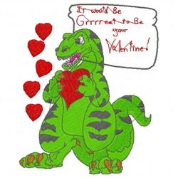 Valentine Dinosaur embroidery design