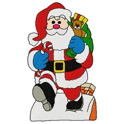 Roof Santa embroidery design