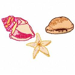 Three Seashells embroidery design