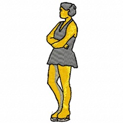 Woman Ice Skater embroidery design