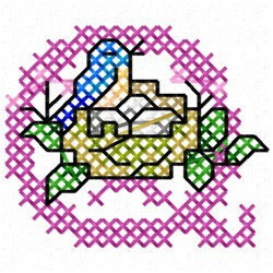 Cross Stitch Birdnest Q embroidery design