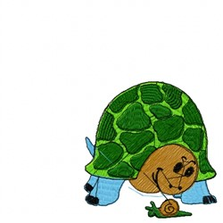 Turtle Snail embroidery design