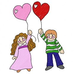 Heart Children embroidery design