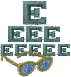 Eye Chart & Glasses embroidery design