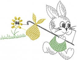 Rabbit Trek embroidery design