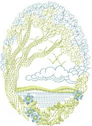 Scenic Tree embroidery design