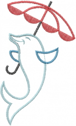 Umbrella Dolphin embroidery design