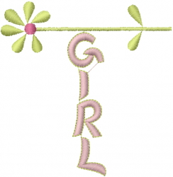 Girl Flower embroidery design