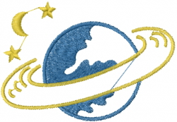 Saturn Planet embroidery design