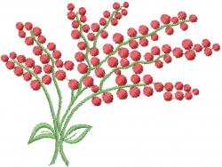 Laurel Red Berries embroidery design