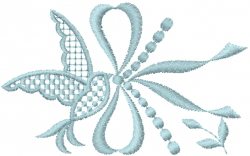 Pearl Dove with Bow embroidery design