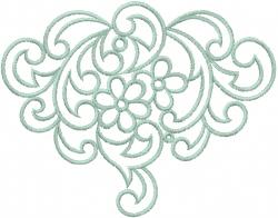 Heirloom Swirl Flowers embroidery design