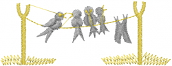 Crows Laundry Line embroidery design