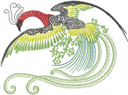 Flying Peacock embroidery design