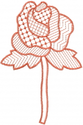 Patterned Long Rose embroidery design