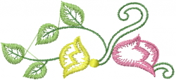 Swirl Floral Vine embroidery design