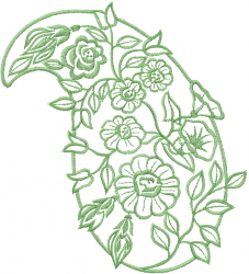 Floral Paisley Outline embroidery design