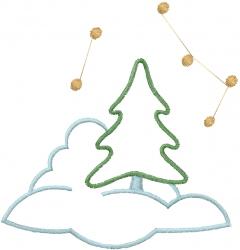 Snow Christmas Tree embroidery design