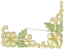 Swirl Daisy Corner embroidery design