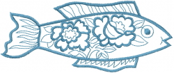Floral Fish embroidery design
