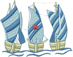 Three Sailboats embroidery design
