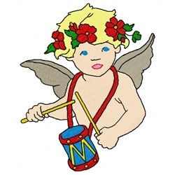 Angel & Drum embroidery design