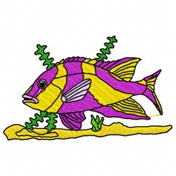 Fish Seaweed embroidery design