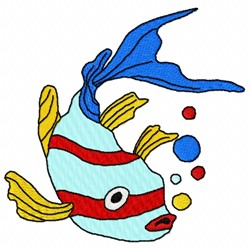 Bubbles Fish embroidery design