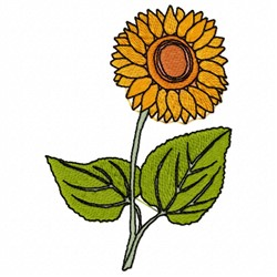 Sunflower Plant embroidery design