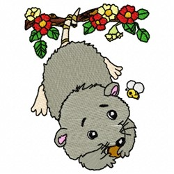 Floral Possum embroidery design