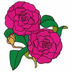 Camellia Japonica embroidery design