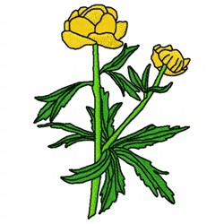 Globe Flower embroidery design