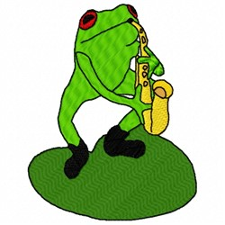 Sax Frog embroidery design