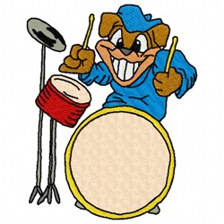 Dog Drummer embroidery design