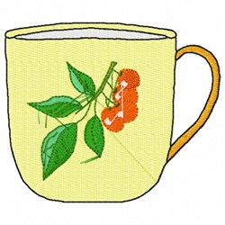Cherry Teacup embroidery design