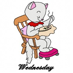 Wednesday Kitty embroidery design