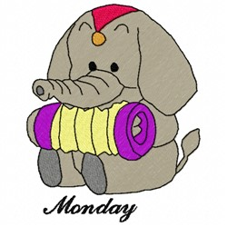 Monday Elephant embroidery design
