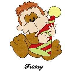 Friday Monkey embroidery design