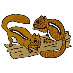 Chipmunks on  Log embroidery design