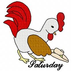 Saturday Chicken embroidery design