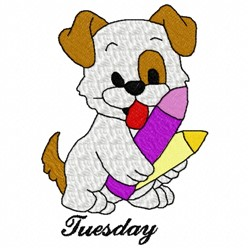Tuesday Dog embroidery design