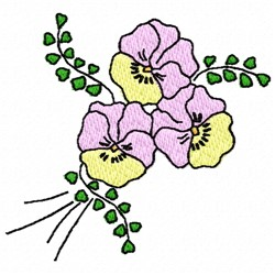 Pansies Flowers embroidery design
