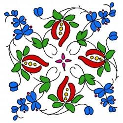 Leaf Flowers embroidery design