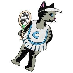 Tennis Cat embroidery design